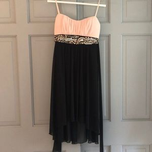 Ruby Rox High Low Pink and Black Dress